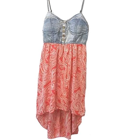 8e57aa08ac1 Rue 21 High low dress denim top pattern bottom. M 5ac21960d39ca286791bdefd